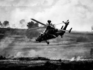"BERGEN, GERMANY - OCTOBER 14: (EDITOR'S NOTE: This image has been converted from color to black and white) The Tiger Helicopter of the German Armed Forces participates in the ""Land Operations"" military exercises during a media day at the Bundeswehr training grounds on October 14, 2016 near Bergen, Germany. The exercises are taking place from October 4-14. Nations across Europe having been strengthening their joint military capabilities and cooperation in recent years as a response to growing Russian military assertion that has included intervention in Ukraine and military flights into European airspace as well as the recent stationing of Iskander nuclear-capable missiles in Kaliningrad."