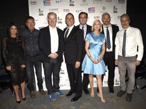 (L-R) Caroline Hirsch, Bruce Springsteen, Jim Gaffigan, Jerry Seinfeld, Bob Woodruff, Lee Woodruff, Louis C.K., Jon Stewart attend as The New York Comedy Festival and The Bob Woodruff Foundation present the 10th Annual Stand Up for Heroes event.