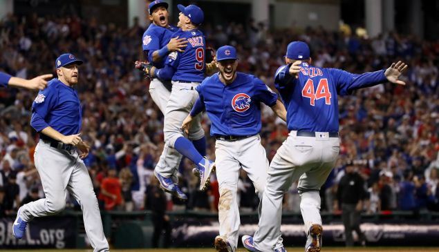 The Chicago Cubs celebrate after defeating the Cleveland Indians 8-7 in Game Seven of the 2016 World Series at Progressive Field on November 2, 2016 in Cleveland, Ohio.