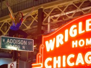 A Chicago Cubs fan sits on top a street pole.