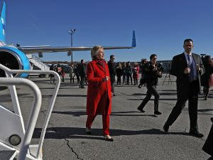 Democratic presidential nominee former Secretary of State Hillary Clinton prepares to board her campaign plane at Westchester County Airport on November 7, 2016 in White Plains, New York.