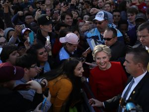 PITTSBURGH, PA - NOVEMBER 07: Democratic presidential nominee former Secretary of State Hillary Clinton greets supporters during a campaign rally on November 7, 2016 in Pittsburgh, Pennsylvania. With one day to go until election day, Hillary Clinton is campaigning in Pennsylvania, Michigan and North Carolina.