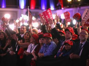 NEW YORK, NY - NOVEMBER 09: People celebrate during the call for Republican president-elect Donald Trump at his election night event at the New York Hilton Midtown on November 9, 2016 in New York City. at the New York Hilton Midtown in the early morning hours of November 9, 2016 in New York City. Donald Trump defeated Democratic presidential nominee Hillary Clinton to become the 45th president of the United States.