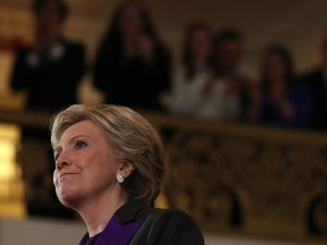 Former Secretary of State Hillary Clinton speaks during a news conference at the New Yorker Hotel on November 9, 2016 in New York City.