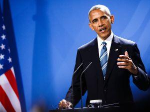 U.S. President Barack Obama speaks at a press conference with German Chancellor Angela Merkel on November 17, 2016 in Berlin, Germany.