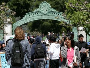 UC Berkeley students walk through Sather Gate on the UC Berkeley campus April 17, 2007 in Berkeley, California.
