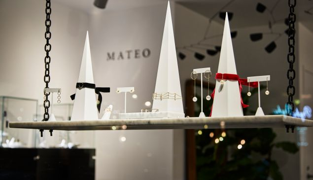 The Mateo New York jewelry line includes geometric designs and a delicate finish.