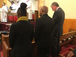 Mayor Bill de Blasio, right, with Brooklyn Borough President Eric Adams, center, and First Lady Chirlane McCray, left, at Salem Baptist Church in Brooklyn.