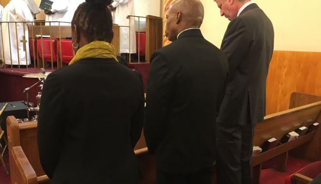 Mayor Bill de Blasio, right, with Brooklyn Borough President Eric Adams, center, and First Lady Chirlane McCray, left, at Salem Baptist Church in Brooklyn.