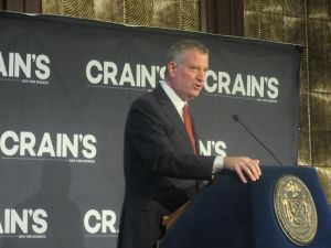 Mayor Bill de Blasio speaks at the 2016 Crain's NYC Summit in Manhattan.