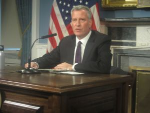 Mayor Bill de Blasio addresses the aftermath of Donald Trump winning the presidential election in City Hall's Blue Room.
