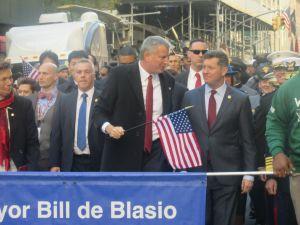 Mayor Bill de Blasio marches during Veterans' Day Parade in Manhattan.