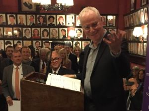 Hamilton biographer Ron Chernow took the stage at Sardi's an hour before a special performance of 'Hamilton' to benefit the Actor's Fund.