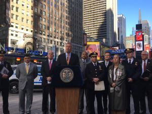 Mayor Bill de Blasio speaks about the city's Election Day security preparations in front of the NYPD Substation in Times Square.