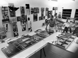 Robert Rauschenberg working on Photem Series I #25 (1981) in his Laika Lane studio, Captiva, Florida, January 1981.