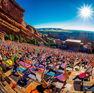 Yoga at Red Rocks Amphitheater.