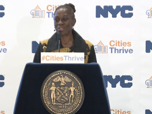 """First Lady Chirlane McCray speakers at the """"Cities Thrive"""" conference at Gracie Mansion."""