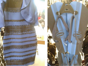 """Do you see the flip flops as the same colors as """"the dress""""?"""