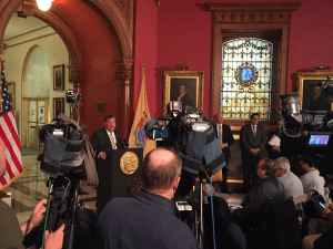 Christie announcing his plans to renovate the State House in November, 2016.