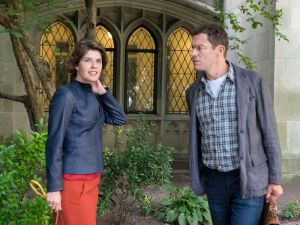 Irene Jacob as Juliette Le Gall and Dominic West as Noah Solloway in The Affair.