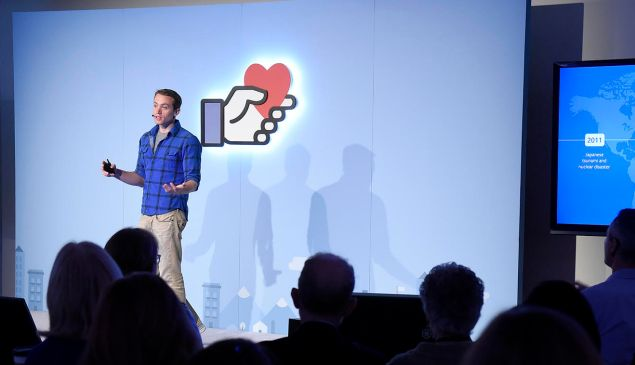 "Peter Cottle, the engineer behind Facebook's ""Safety Check"" feature, at the company's ""Connecting For Good"" event in Manhattan, November 17, 2016."