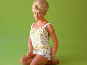 Elke Sommer, German actress, wearing a crochet minidress with a beehive hairstyle and sitting on the floor in a studio portrait, against a green background, circa 1965. (Photo by Silver Screen Collection/Getty Images)