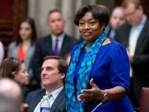 Senate Minority Leader Andrea Stewart-Cousins, right, with State Senator Michael Gianaris.