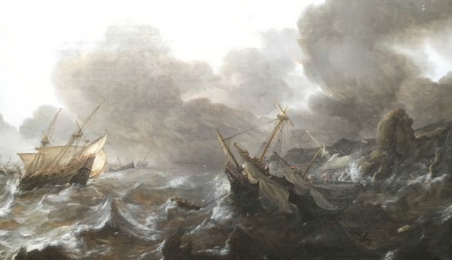 Ships in Distress on a Stormy Sea.