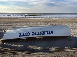 A lifeguard boat in Atlantic City.
