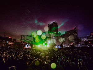 Aphex Twin played a symbol-rich set, his first US apperacne in eight years, as the lasers met the rain