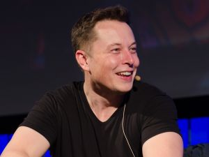 Elon Musk smiling at all the puns in his Twitter mentions.