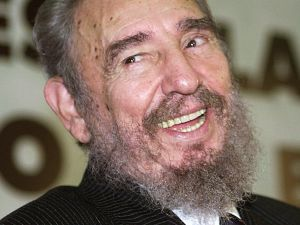 Fidel Castro having a great time in 2003 at the Ministry of Education in Brazil.