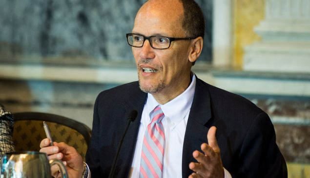 Department of Labor Secretary Thomas Perez delivers remarks during a public meeting of the Financial Literacy and Education Commission at the United States Treasury on June 29, 2016 in Washington, DC.
