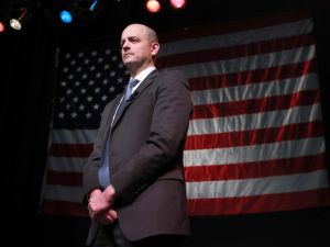 U.S. Independent presidential candidate Evan McMullin waits to speak to supporters at an election night party on November 8, 2016 in Salt Lake City, Utah.