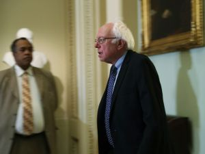 Sen. Bernie Sanders arrives at an election meeting of Senate Democrats at the Capitol November 16, 2016 in Washington, DC.