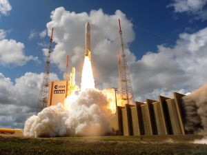 In this handout provided by the European Space Agency (ESA), Ariane Flight VA233 carrying four European Galileo navigation satellites launches November 15, 2016 in Kourou, French Guiana.