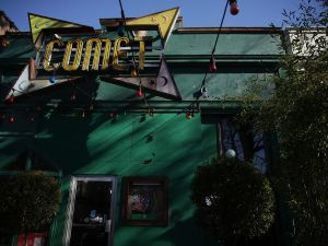 Front entrance of Comet Ping Pong pizzeria, a restaurant in Washington, DC that's been at the center of a media conspiracy theory involving child sex abuse rings.