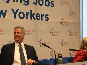 Mayor Bill de Blasio speaks at a press conference where he unveiled a new, $500 million life sciences initiative.