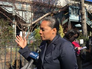 Queens Councilwoman Julissa Ferreras, chairwoman of the City Council's Finance Committee, addresses reporters after a press conference.