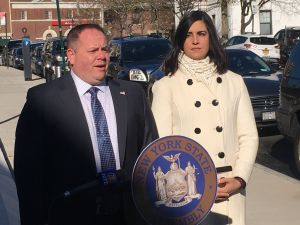 Assemblyman Ronald Castorina, left, and Assemblywoman Nicole Malliotakis, right.