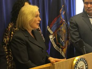 Sen. Kirsten Gillibrand called for additional funding to protect religious institutions and nonprofits from threats at her New York City office this afternoon.