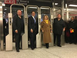 MTA Chairman Thomas Prendergast, Gov. Andrew Cuomo and Congresswoman Carolyn Maloney enter the 96th Street Station of the long-awaited Second Avenue Subway line.
