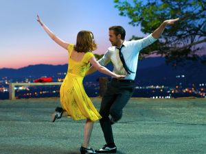 Emma Stone as Mia and Ryan Gosling as Sebastian in La La Land.
