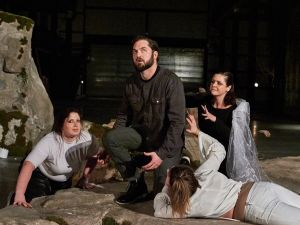 New York, New York - Dec. 6, 2016 : The LoftOpera production of Giuseppe Verdi's opera Macbeth, Directed by Laine Rettmer, performed at the Mast Chocolate Factory in Brooklyn Navy Yard