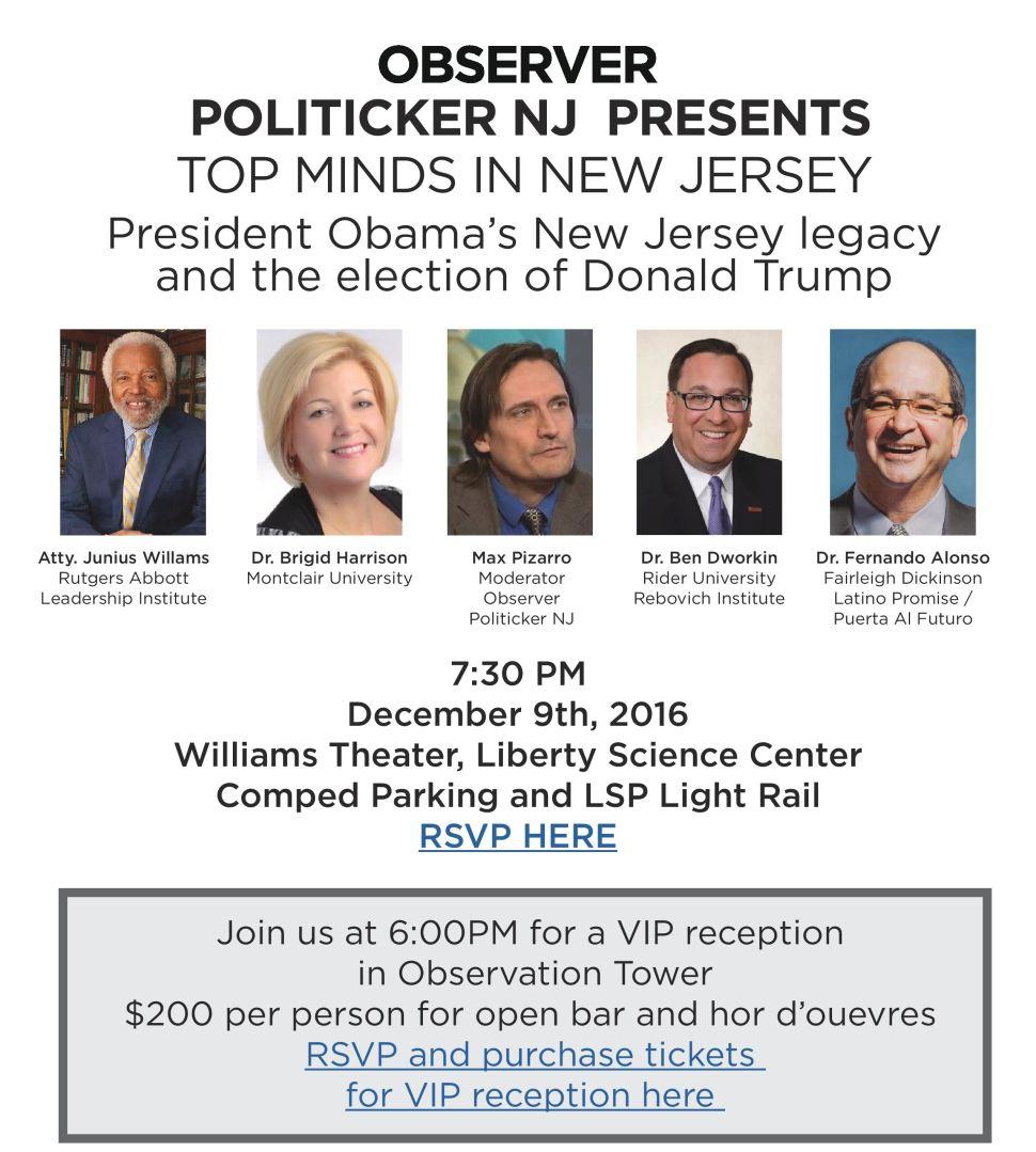PolitickerNJ Observer Top Minds Event Set for This Friday, December 9