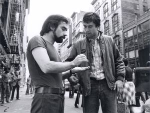 Martin Scorsese and Robert De Niro on the set of TAXI DRIVER (1976).