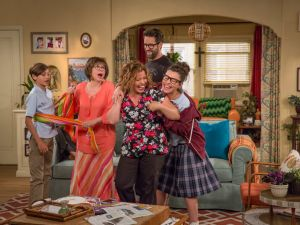 From left, Marcel Ruiz, Rita Moreno, Justina Machado, Todd Grinnell and Isabella Gomez in One Day At a Time.
