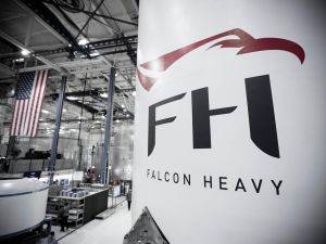 A Falcon Heavy is being prepped at the company's rocket factory in Hawthorne, California (