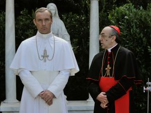 Jude Law as Lenny Belardo and Silvio Orlando as Cardinal Voiello.