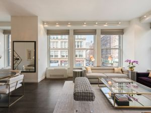 The luxe apartment is on the second floor of a Flatiron condo.